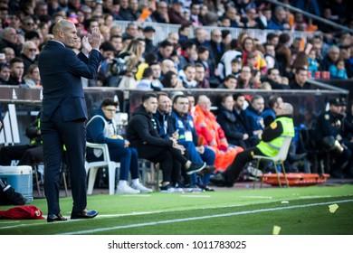 VALENCIA, SPAIN - JANUARY 27: Zinedine Zidane during Spanish La Liga match between Valencia CF and Real Madrid at Mestalla Stadium on January 27, 2018 in Valencia, Spain