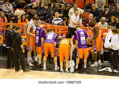 VALENCIA, SPAIN - JANUARY 28: Team Valencia Basket preparing the strategy during the ACB league match between Valencia Basket  and Asefa Estudiantes, 85-71, on January 28, 2012, in Valencia, Spain