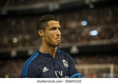 VALENCIA, SPAIN - JANUARY 3: Cristiano Ronaldo during BBVA LEAGUE match between Valencia C.F. and Real Madrid at Mestalla Stadium on January 3, 2015 in Valencia, Spain