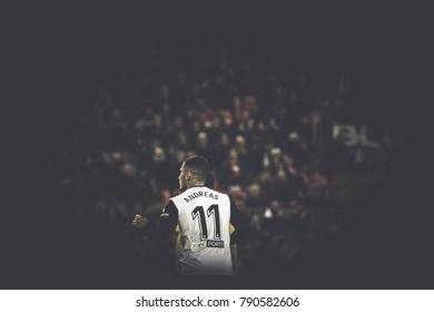 VALENCIA, SPAIN - JANUARY 9: Andreas Pereira during Spanish King Cup match between Valencia CF and Las Palmas at Mestalla Stadium on january 9, 2018 in Valencia, Spain