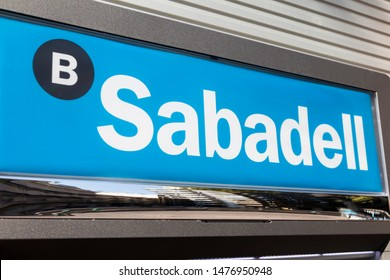 Valencia, SPAIN - JULY 19, 2018: Sabadell logo on Sabadell's bank branch office. Sabadell is a spanish bank founded in 1881