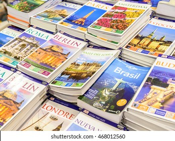 VALENCIA, SPAIN - JULY 20, 2016: Travel Books For Sale On Library Shelf.