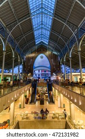 VALENCIA, SPAIN - JULY 20, 2016: From 1916 Mercado Colon is an old market located in the city of Valencia now rehabilitated and equipped with shops and modern restaurants.