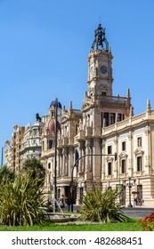 VALENCIA, SPAIN - JULY 24, 2016: Plaza del Ayuntamiento (Modernisme Plaza of the City Hall of Valencia) Is One Of The Largest Squares In Valencia And Current Location Of The City Hall And Its Fountain