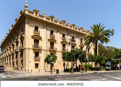 VALENCIA, SPAIN - JULY 24, 2016: Rush Hour In Downtown Center Of Valencia City.