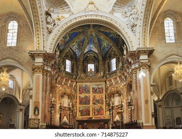 VALENCIA, SPAIN - JULY 24, 2017: Basilica of the Assumption of Our Lady of Valencia (Saint Mary's Cathedral or Valencia Cathedral) is a Roman Catholic parish church in Valencia.