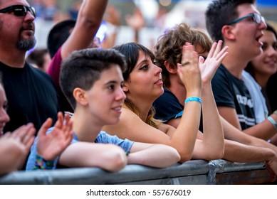 VALENCIA, SPAIN - JUN 10: The crowd at Festival de les Arts on June 10, 2016 in Valencia, Spain.