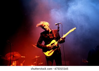 VALENCIA, SPAIN - JUN 10: We Are Scientists (band) perform in concert at Festival de les Arts on June 10, 2016 in Valencia, Spain.