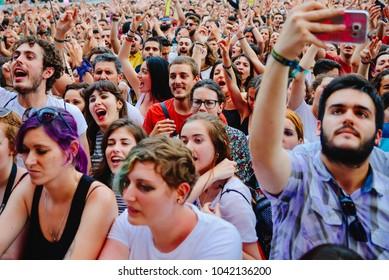 VALENCIA, SPAIN - JUN 11: The crowd at Festival de les Arts on June 11, 2016 in Valencia, Spain.
