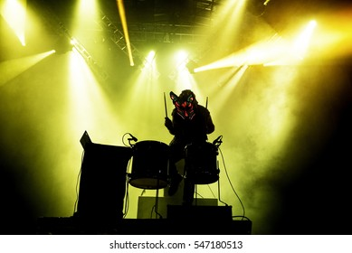 VALENCIA, SPAIN - JUN 11: Slow Magic (electronic band) perform in concert at Festival de les Arts on June 11, 2016 in Valencia, Spain.