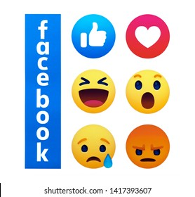 Valencia, Spain - June 04, 2019:  New  Facebook  button Empathetic Emoji reactions printed on paper. Facebook is a known social networking service.