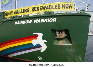"""VALENCIA, SPAIN - JUNE 10, 2014: Greenpeace's vessel the """"Rainbow Warrior"""" at the Port of Valencia. Greenpeace is a nongovernmental environmental organization with offices in over 40 countries."""