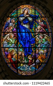 Valencia, Spain - June 15, 2018: Stained Glass in Valencia Cathedral, Valencia, depicting the Assumption of the Blessed Virgin Mary