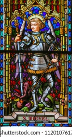 Valencia, Spain - June 15, 2018: Stained Glass in Valencia Cathedral, Valencia, depicting the Archangel St Michael