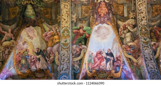 Valencia, Spain - June 15, 2018: 17th Century Frescoes in the Church of Saint Nicholas and Saint Peter Martyr in Valencia, Spain