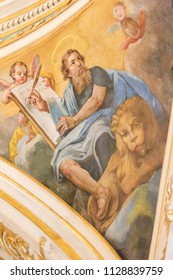 Valencia, Spain - June 15, 2018: 17th Century Fresco in the Church of Saint Nicholas and Saint Peter Martyr in Valencia, Spain, depicting Saint Mark the Evangelist