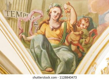 Valencia, Spain - June 15, 2018: 17th Century Fresco in the Church of Saint Nicholas in Valencia, Spain, depicting the Cardinal Virtue Temperance or Restraint
