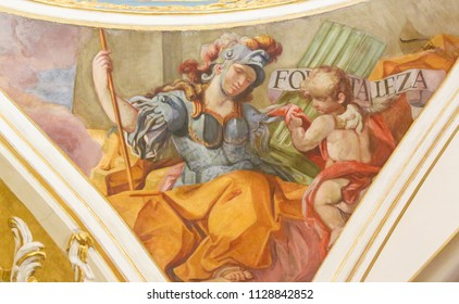 Valencia, Spain - June 15, 2018: 17th Century Fresco in the Church of Saint Nicholas in Valencia, depicting the Cardinal Virtue Courage or Fortitude