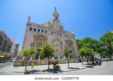 Valencia, Spain - June 15, 2018: Church of Santos Juanes is a Roman Catholic church located in the Mercat neighborhood of the city of Valencia, Spain