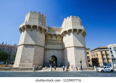 Valencia, Spain - June 15, 2018: Exterior facade of the monumental Serrano gate or Serrans Gate, built in the 14th century, in the center of Valencia, Spain