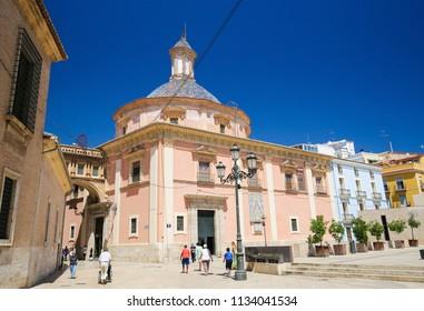 Valencia, Spain - June 15, 2018: Basilica de la Virgen de los Desamparados in the center of Valencia, Spain