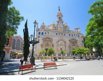 Valencia, Spain - June 15, 2018: Church of Santos Juanes is a Roman Catholic church located in the Mercat neighborhood of the city of Valencia, Spain