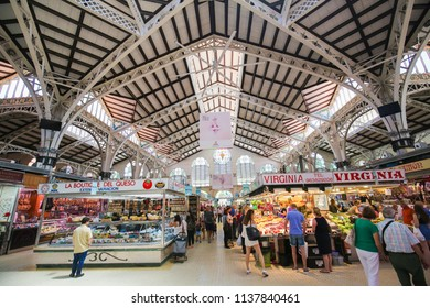 Valencia, Spain - June 15, 2018: Mercado Central or Mercat Central is a public market located in central Valencia, Spain, and a prime example of Valencian Art Nouveau