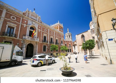 Valencia, Spain - June 15, 2018: Palau del Marques de Campo, a famous palace, in the center of Valencia, Spain