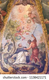 Valencia, Spain - June 15, 2018: Baroque Fresco in Church of St Nicholas and Peter Martyr in Valencia, Spain, depicting the Assassination of St Peter Martyr or Peter of Verona by Carino of Balsamo