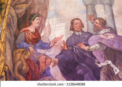 Valencia, Spain - June 15, 2018: 17th Century Fresco in the Church of Saint Nicholas and Saint Peter Martyr in Valencia, Spain, depicting a Scene in the Life of Saint Nicholas of Bari