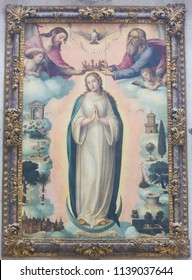 Valencia, Spain - June 15, 2018: Painting of the Coronation of Mother Mary by the Holy Trinity, Father, Son and Holy Spirit, in Valencia, Spain