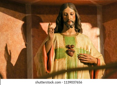 Valencia, Spain - June 15, 2018: Statue of Jesus and the Sacred Heart in the Basilica of Valencia, Spain
