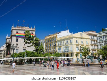 Valencia, Spain - June 15, 2018: LGBT or gay pride flag at a government building in the center of Valencia, Spain