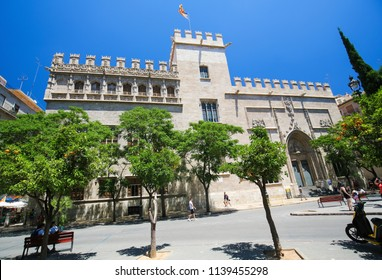 Valencia, Spain - June 15, 2018: Llotja de la Seda or Silk Exchange, an emblematic late Valencian Gothic-style civil building in the center of Valencia, Spain