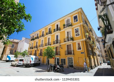 Valencia, Spain - June 15, 2018: Trompe-l'oeil paintings on a building in the center of Valencia, Spain