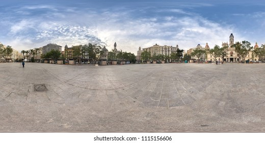 VALENCIA, SPAIN - JUNE 15: 360 Panoramic view of City Hall on May 21, 2018 in Valencia, Spain.