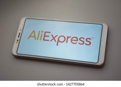 Valencia, Spain; June 18 2019: AliExpress wallpaper in a mobile app, AliExpress is a Chinese company selling online products