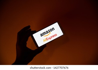 Valencia, Spain; June 18 2019:  Wallpaper of Amazon and AliExpress, Amazon and AliExpress have a tough competition to see which company is the leader of the online market