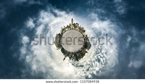 VALENCIA, SPAIN - JUNE 2: Tiny Little Planet 360 Degree of City hall on June 2, 2018 in Valencia, Spain.