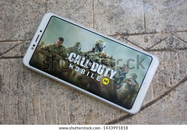 Valencia, Spain; June 20 2019:  Wallpaper of the Call of Duty Mobile video game on a smartphone, Call of Duty: Mobile is a new free game for Android and IOS smartphones.