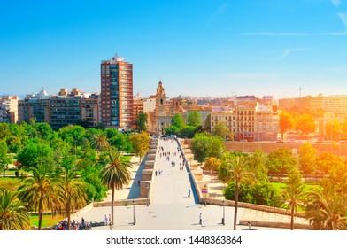VALENCIA, SPAIN- JUNE 22, 2019: Park Turia in Valencia, Spain. Park made in old riverbed