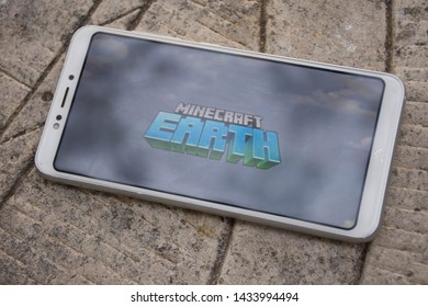 Valencia, Spain; June 25 2019:  Wallpaper of the game Minecraft Earth, Minecraft Earth is the new videogame of the Minecraft saga for Android and IOS smartphone