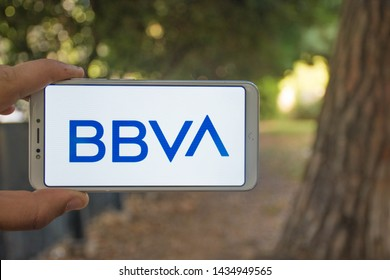 Valencia, Spain; June 26 2019:  BBVA bank wallpaper and logo in a mobile app, BBVA bank is a Spanish bank and one of the most important banks in the world.