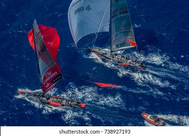 VALENCIA, SPAIN - JUNE 26: Switzerland's Alinghi and Emirates Team New Zealand in final match race of 32nd America's Cup on June 26, 2007 in Valencia, Spain.