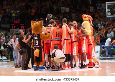 VALENCIA, SPAIN - JUNE 7th: Valencia Team during 3rd playoff match between Valencia Basket and Real Madrid at Fonteta Stadium on June 7, 2016 in Valencia, Spain