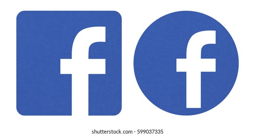 Valencia, Spain - March 05, 2017: Facebook logos sign on white background printed on paper. Facebook is a well-known social networking service.