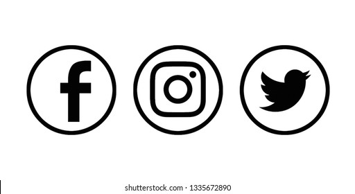 Valencia, Spain - March 05, 2019: Collection of popular social media logos printed on paper: Facebook, Instagram, Twitter.