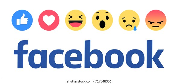 Valencia, Spain - March 08, 2017:  New  Facebook  button Empathetic Emoji reactions printed on paper. Facebook is a known social networking service.