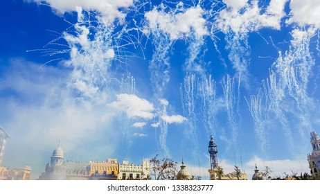 Valencia, Spain - March 10, 2019: Fireworks fired in a Mascleta Fallas during the day.