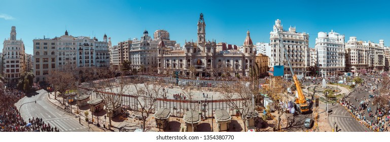 Valencia, Spain, March 10, 2019. Fallas festival. Aerial view of the area and buildings of the town hall square, shortly before the mascleta, where many people gather to watch the show.